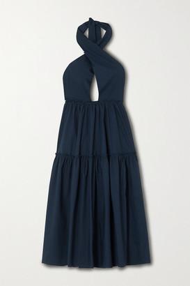 Marios Schwab Rainha Cotton-poplin Halterneck Midi Dress - Navy