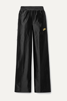 Nike Glam Dunk Striped Satin-jersey Track Pants - Black