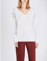 Chloé Lace-insert wool and cashmere-blend jumper