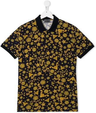 Versace TEEN Barocco print polo shirt