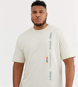 Asos Plus loose fit t-shirt with photographic print-Beige