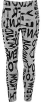 River Island Girls grey flocked graffiti print leggings