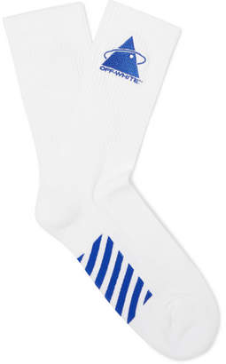 Off-White Off White Embroidered Logo-Intarsia Stretch Cotton-Blend Socks