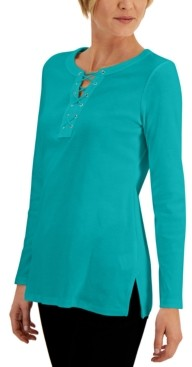 Karen Scott Lace-Up Vented-Hem Top, Created for Macy's