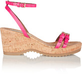 Stella McCartney Croc-effect faux leather and cork wedge sandals