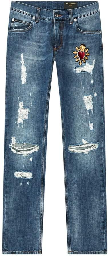 Dolce & Gabbana Heart Applique Distressed Jeans