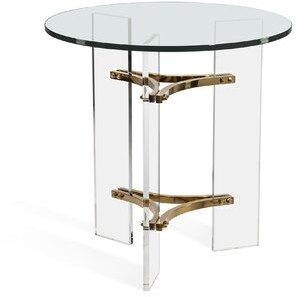 Interlude Tamara Glass Top 3 Legs End Table