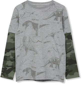 M&Co Long sleeve camo dinosaur t-shirt (3-12yrs)