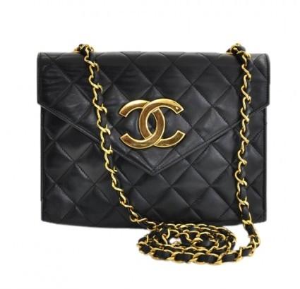Chanel excellent (EX) Vintage Black Quilted Leather Shoulder Bag