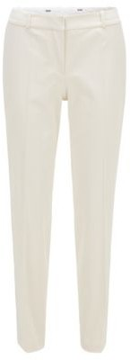 HUGO BOSS Relaxed Fit Pants In Stretch Cotton With Tapered Leg - White