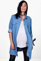 boohoo NEW Womens Maternity Laila Denim Shirt in