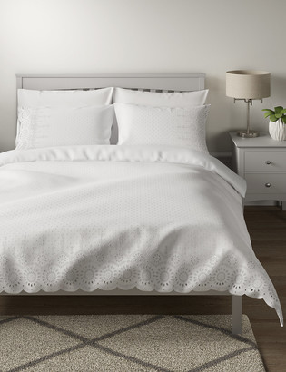 Marks and Spencer Pure Cotton Broderie Anglaise Bedding Set