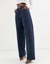 Asos Design DESIGN High rise 'Relaxed' dad jeans in smokey blue wash