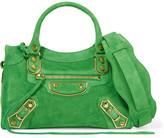 Balenciaga Classic Metallic Edge City Mini Suede Shoulder Bag - Green