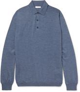 Boglioli - Knitted Mélange Virgin Wool Polo Shirt