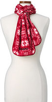 Classic Women's 100 Fleece Pattern Scarf-Red Fairisle