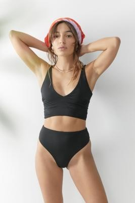 Urban Outfitters We Are We Wear ECO Selin High-Waisted Thong Bikini Bottoms - Black XS at