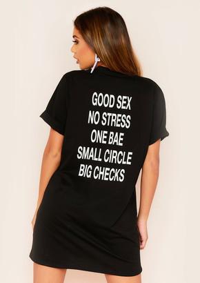 Ever New Sara Black No Stress Graphic Slogan T-Shirt Dress