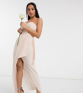 TFNC Petite bridesmaid exclusive bandeau wrap midaxi dress with pleated detail in ecru