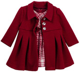 Iris & Ivy Plaid Dress & Textured Coat Set (Baby Girls 0-9M)