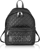 Moschino Black Quilted Nylon Backpack w/Studs