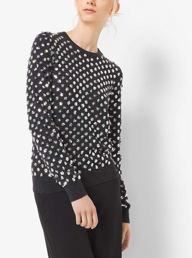 Michael Kors Floral-Embellished Cashmere Sweater