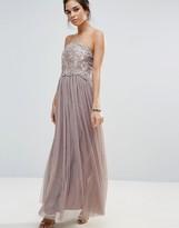Little Mistress Lace Overlay Bandeau Maxi Dress