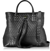 Balmain Domaine Black Quilted Leather Men's Tote Bag