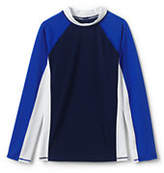 Lands' End Boys Long Sleeve Colorblock Rash Guard-Royal Indigo