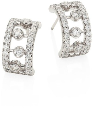 De Beers Dewdrop Diamond & 18K White Gold Hoop Earrings/0.4""