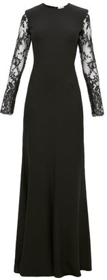 Alexander McQueen Lace-trimmed Leaf-crepe Gown - Womens - Black