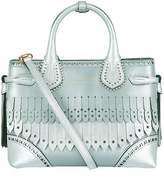 Burberry Metallic Fringed Banner Tote, Grey