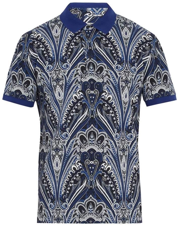 Etro Abstract paisley-print cotton-piqué polo shirt