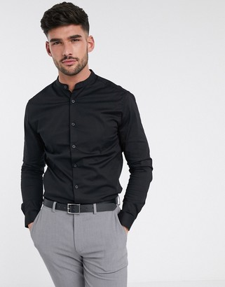 Asos DESIGN stretch skinny fit shirt in black with grandad collar