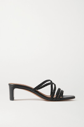 Souliers Martinez Ana Braided Leather Mules - Black