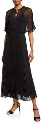 Jill Stuart Short-Sleeve Pleated Midi Dress