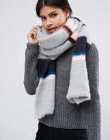 Asos Super Fluffy Long Multi Stripe Scarf