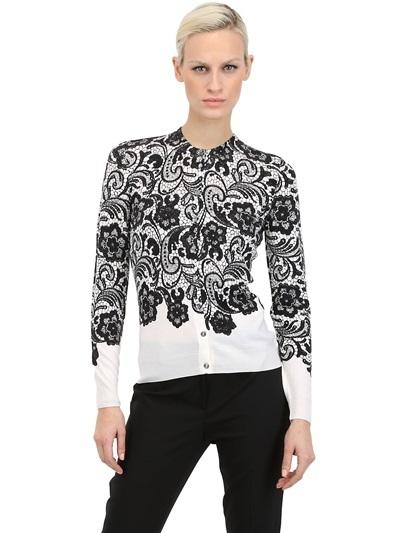 Dolce & Gabbana Lace Wool Knit Cardigan