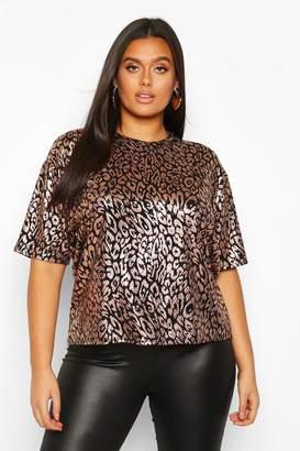 boohoo Plus Metallic Leopard Sequin Oversized T-Shirt