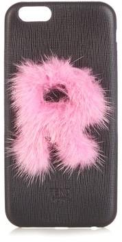 Fendi Leather Iphone 6 Case - Black Pink