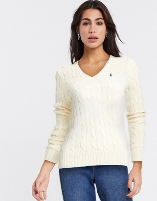 Polo Ralph Lauren cable v neck knit jumper in cream