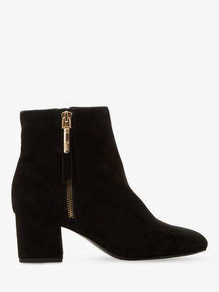 Dune Orlla Suede Side Zip Ankle Boots, Black