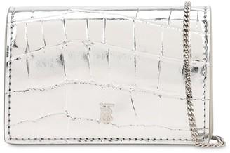 Burberry Jessie Croc Embossed Chain Wallet