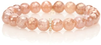 Sydney Evan Eternity 14kt gold and moonstone beaded bracelet with diamonds