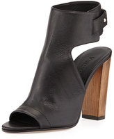 Vince Addie Open-Toe Buckle-Back Bootie, Black