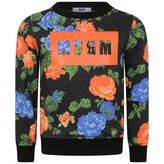 Petit Bateau Girls Black Floral Print Sweater