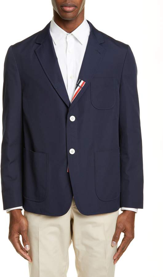 Thom Browne Unconstructed Wool Blend Sport Coat