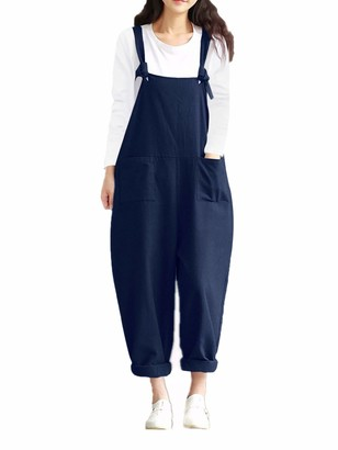 Style Dome Styledome Women's Retro Loose Casual Baggy Sleeveless Overall Long Jumpsuit Playsuit Trousers Pants Dungarees Navy UK 10-12 (Medium)
