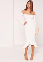 Missguided Bardot Fishtail Hem Dress White
