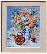 One Kings Lane Vintage Flower Vase and Teapot Still Life